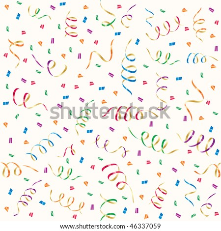 Seamless background with party streamers and confetti, illustration