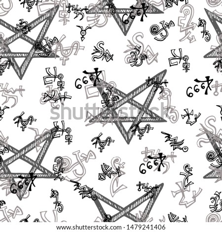 Seamless background with pentagram and alchemy symbols on white. Vector engraved illustration in gothic and mystic style. No foreign language, all signs are fantasy