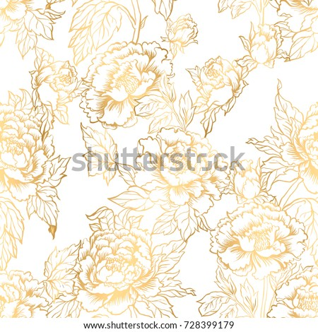 Seamless background with peony flowers. Vector illustration imitates traditional Chinese ink painting. Graphic hand drawn floral pattern. Textile fabric design. Golden inking.