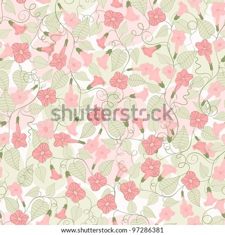 Seamless background with pink flowers