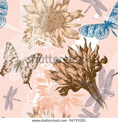 Seamless background with pink flowers blooming, butterflies and dragonflies, hand-drawing. Vector.