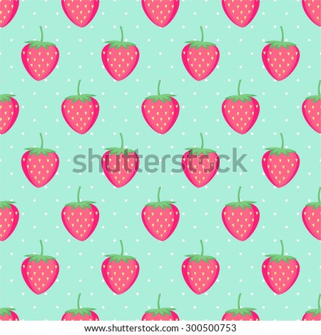 Seamless background with pink strawberries. Cute vector strawberry pattern. Summer fruit illustration on mint polka dots background. - stock vector