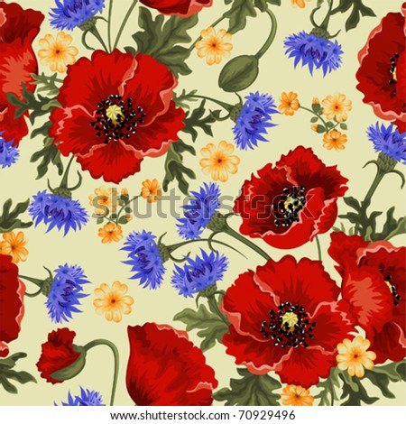 Seamless background with red poppies and cornflowers