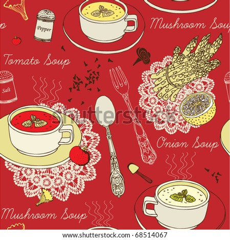 seamless background with soup...