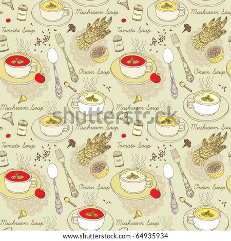 seamless background with soup, vegetables and spice