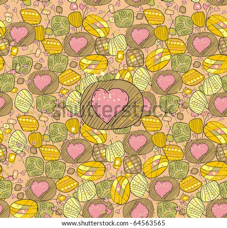 Seamless background with the drawn hearts