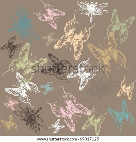 Seamless background with the image of a dragonflies and butterflies.