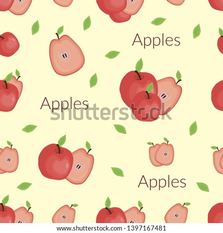Seamless background with the image of juicy apples in vintage style, handmade style, cartoon style with typography.