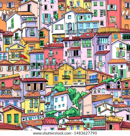 Seamless background with typical colorful houses in old town in Menton, France