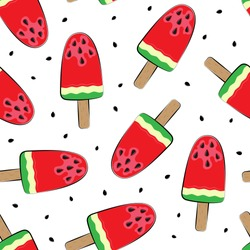 Seamless background with watermelon. Watermelon on a stick. Vector illustration. A simple pattern. Summer time