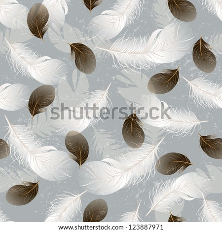 Seamless background with white and brown feathers