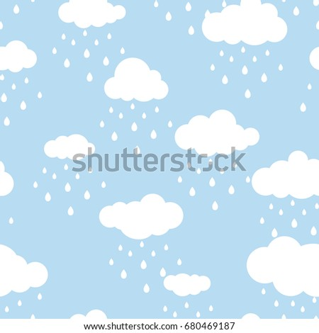 Seamless background with white clouds and raindrops on blue sky. Overcast pattern. Vector illustration. Cartoon rain weather wallpaper. Rainy day