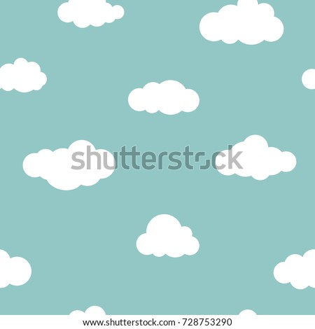 Seamless background with white clouds on blue sky. Overcast pattern. Vector illustration. Cartoon rain weather wallpaper.