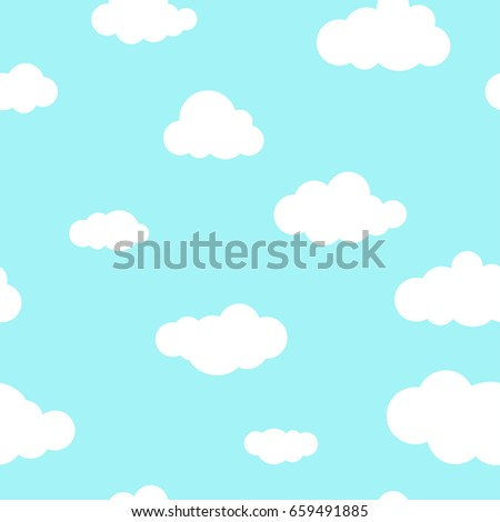 Seamless background with white clouds on powder blue sky. Overcast pattern. Vector illustration. Cartoon weather wallpaper.
