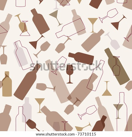 Seamless background with wine glasses and bottles