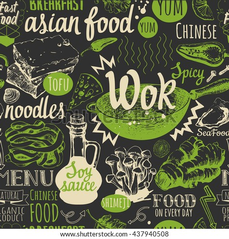 seamless background with wok