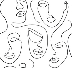 Seamless background with women's faces one line style. Female superiority stylized pattern. Modern printable design
