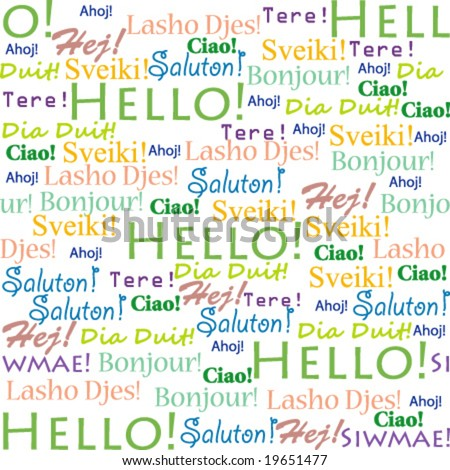 "Seamless background with words ""Hello!"" in different languages"