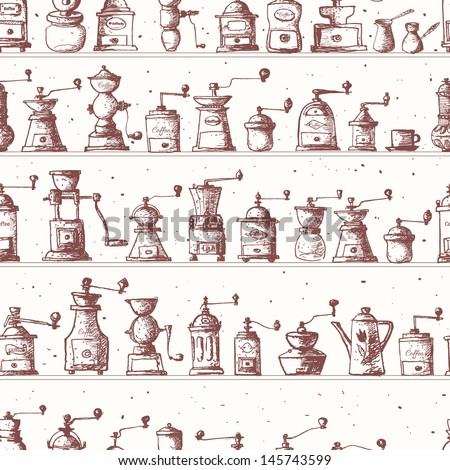 Vintage Cafe Wallpaper With Vintage Coffee Mills