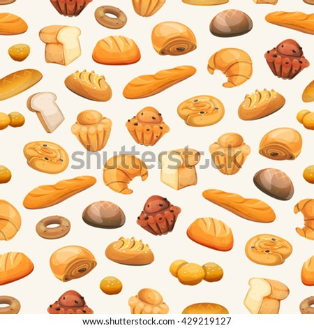 Seamless Bakery Icons Background Seamless bakery and pastry products background, with bread and breakfast icons, brioche, viennoiserie, cakes, crescent, donuts, biscuits, desserts and sweets