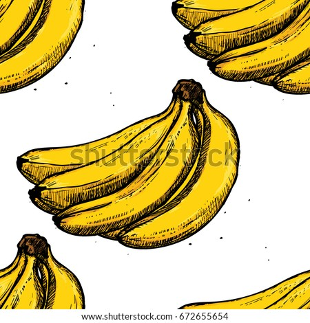 Seamless Banana Pattern on White Background. Hand Drawn Sketch Vector Illustrations.