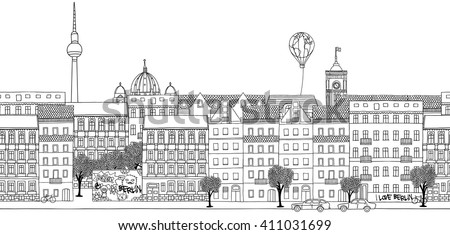 Seamless banner of Berlin's skyline, hand drawn black and white illustration