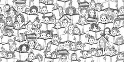 Seamless banner of children reading books,
