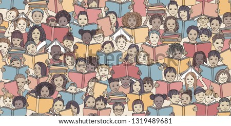 Seamless banner of children reading colorful books,