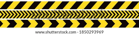 Seamless barrier tape. Construction border. Black and yellow restriction line. Do not cross boundary tape Foto stock ©