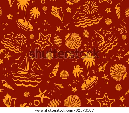 seamless beach vector 2 color