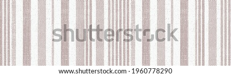 Seamless beige white  farmhouse style stripes texture. Woven linen cloth pattern background. Line striped closeup weave fabric for kitchen towel material. Pinstripe fiber picnic table cloth Stockfoto ©