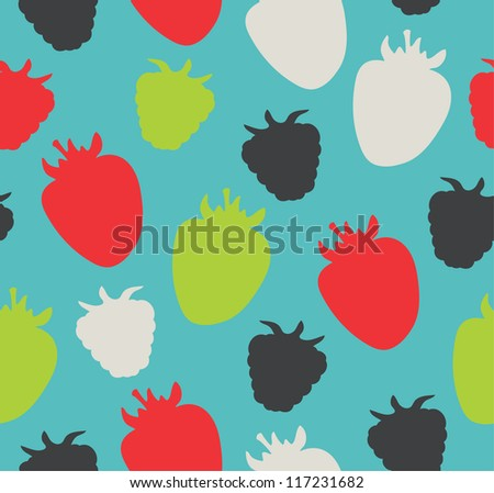 Seamless berries pattern. Colorful floral background can be used for cards, gifts, prints, crafts.