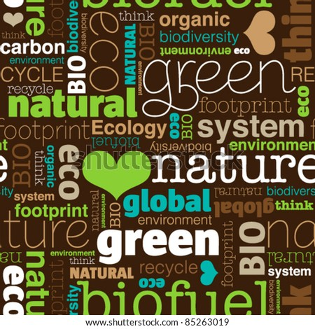 Seamless bio eco environment typography pattern in vector
