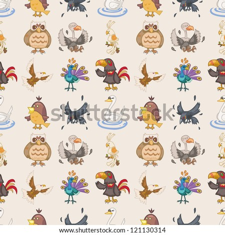 seamless bird pattern cartoon