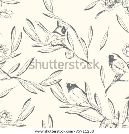 Seamless birds pattern. Floral vector background