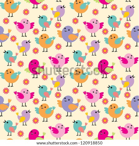 Seamless birds pattern. vector