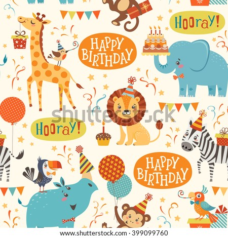 seamless birthday pattern with