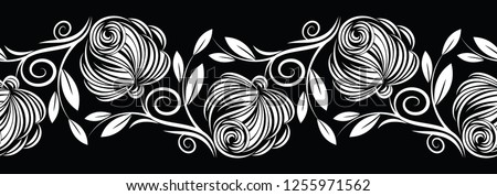 Seamless black and white abstract rose flower border