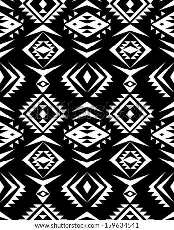 seamless black and white aztec print pattern background