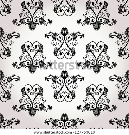 Seamless black and white baroque floral ornament - stock vector
