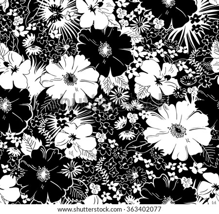 Rose flower vector background black and white download free vector seamless black and white floral pattern mightylinksfo