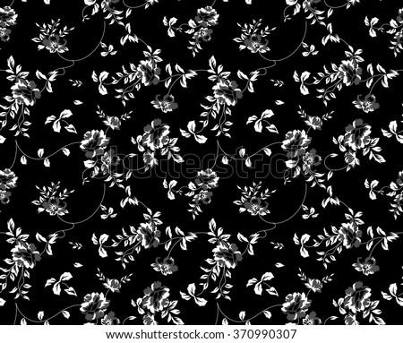 seamless black and white floral