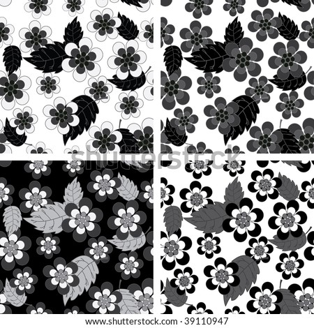 stock vector : Seamless black and white flower wallpaper