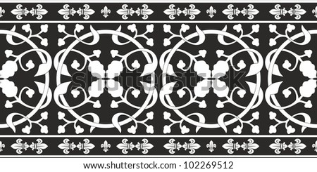 Seamless black-and-white gothic floral vector pattern with fleur-de-lis