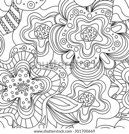 Seamless black and white hand-drawn pattern with flowers. Sketchy ornate zentangle texture with abstract flowers.