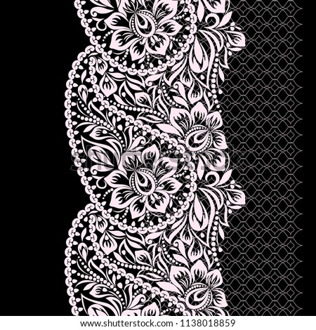 Seamless black and white lace pattern with paisley and flowers. Traditional ethnic ornament. Vector print. Use for wallpaper, pattern fills,textile design.