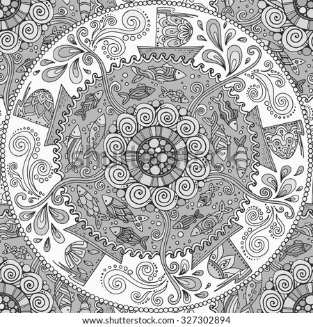 Seamless black and white pattern. Ethnic mandala background with decorative ornament, doodle fishes, waves, wind and ships.