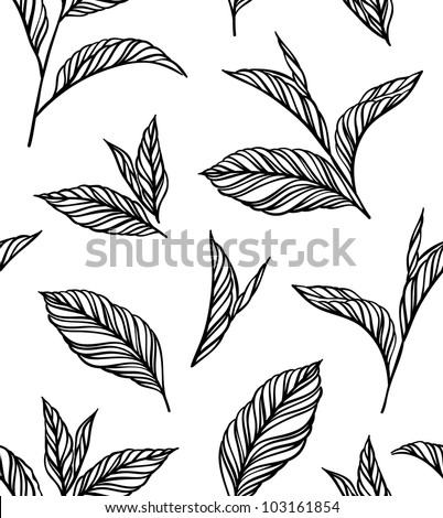 Seamless black-and-white pattern with leaves in vintage style. Seamless pattern for your design wallpapers, pattern fills, web page backgrounds, surface textures.