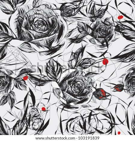 Seamless black-and-white pattern with red accent / Japanese floral calligraphy