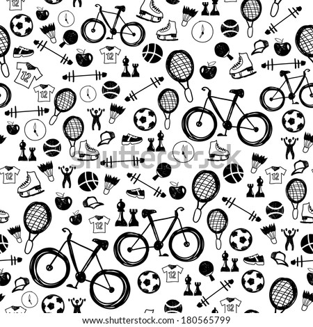 Seamless Black-and-white Pattern With Sports Icon